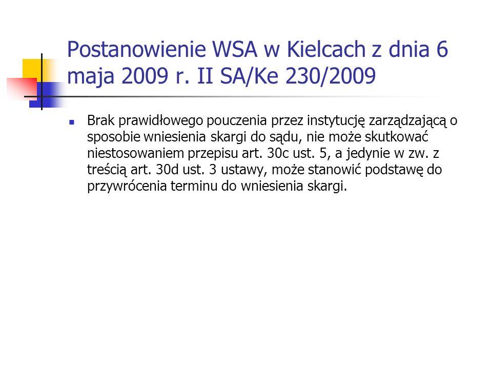 Postanowienie WSA w Kielcach z dnia 6 maja 2009 r. II SA/Ke 230/2009