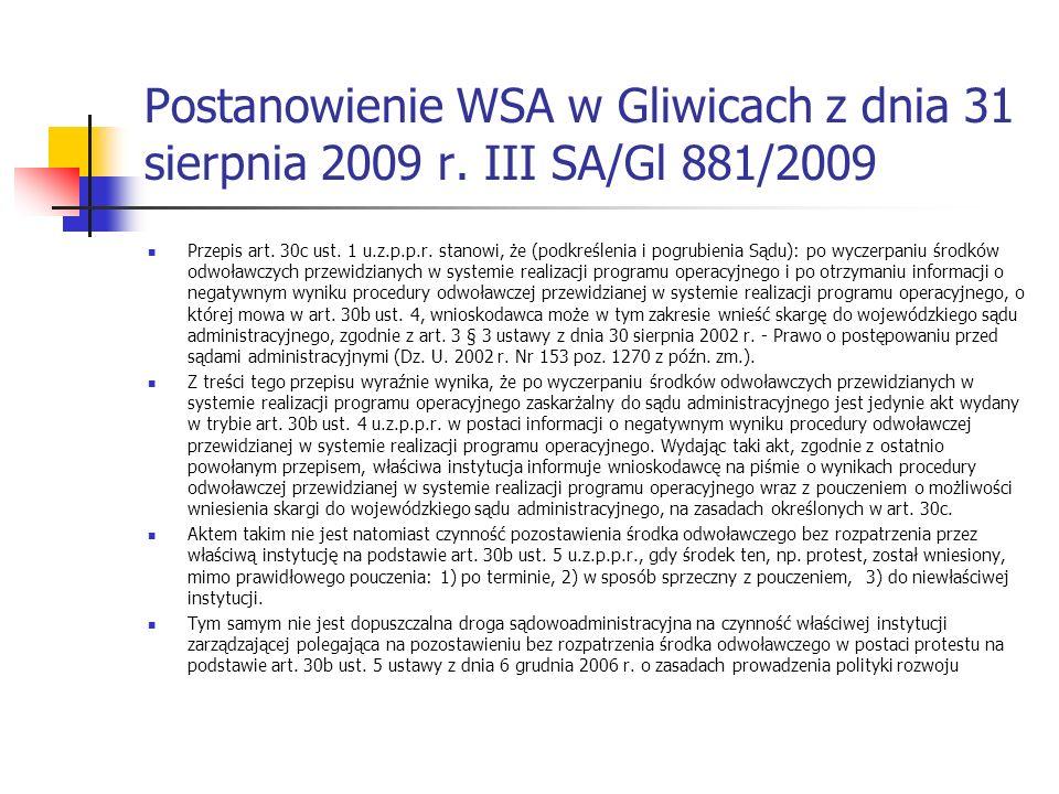 Postanowienie WSA w Gliwicach z dnia 31 sierpnia 2009 r