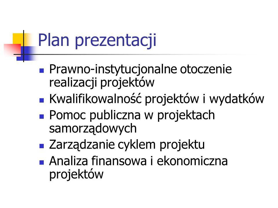 Plan prezentacji Prawno-instytucjonalne otoczenie realizacji projektów