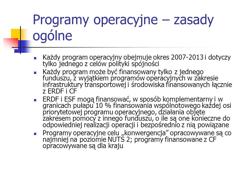 Programy operacyjne – zasady ogólne