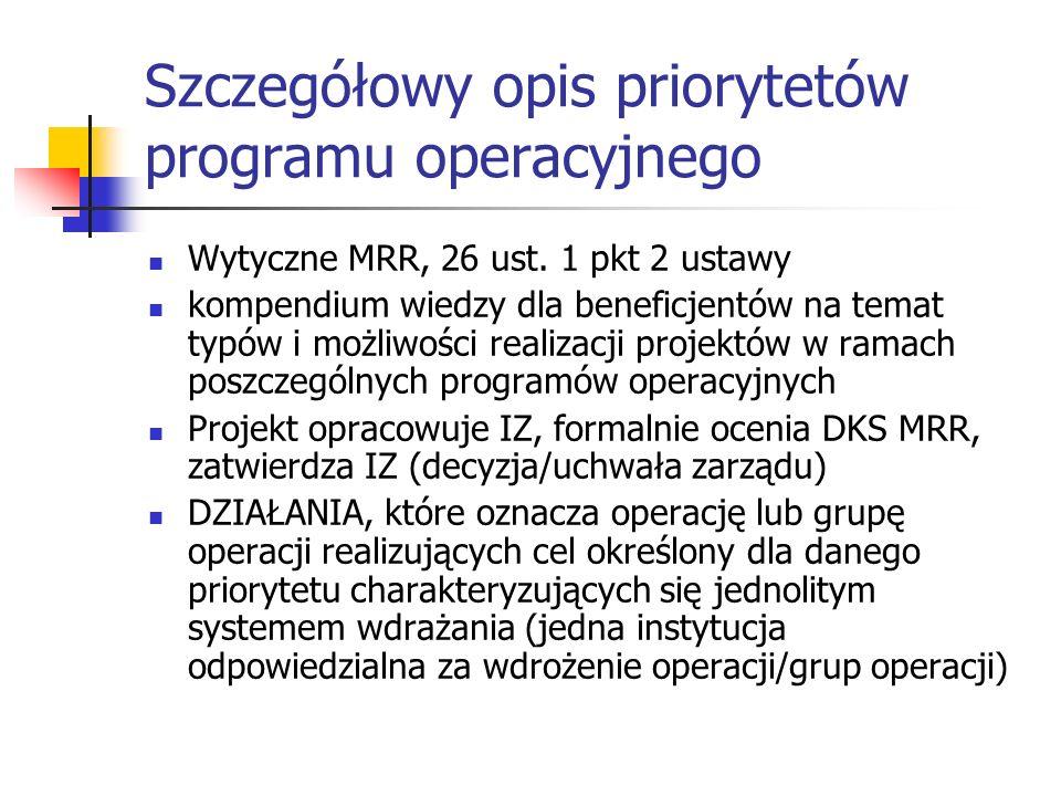 Szczegółowy opis priorytetów programu operacyjnego
