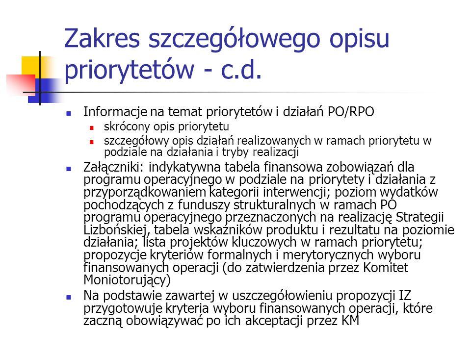 Zakres szczegółowego opisu priorytetów - c.d.