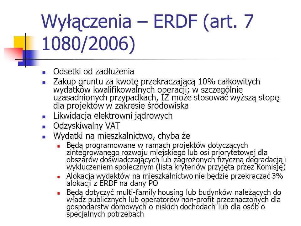 Wyłączenia – ERDF (art. 7 1080/2006)