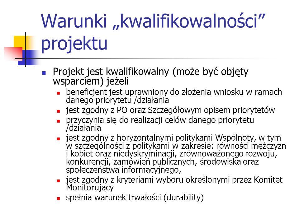 """Warunki """"kwalifikowalności projektu"""