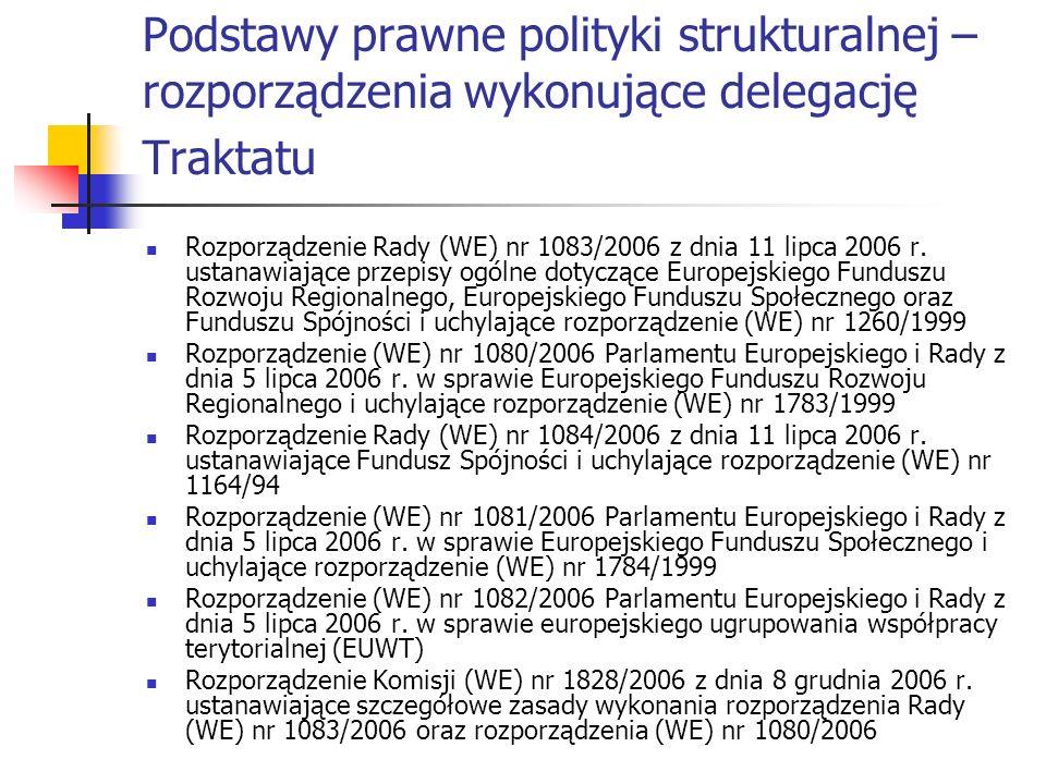 Podstawy prawne polityki strukturalnej – rozporządzenia wykonujące delegację Traktatu