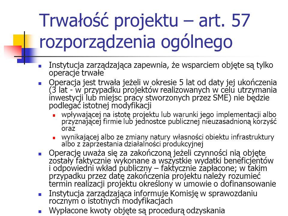 Trwałość projektu – art. 57 rozporządzenia ogólnego