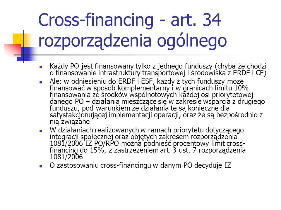 Cross-financing - art. 34 rozporządzenia ogólnego