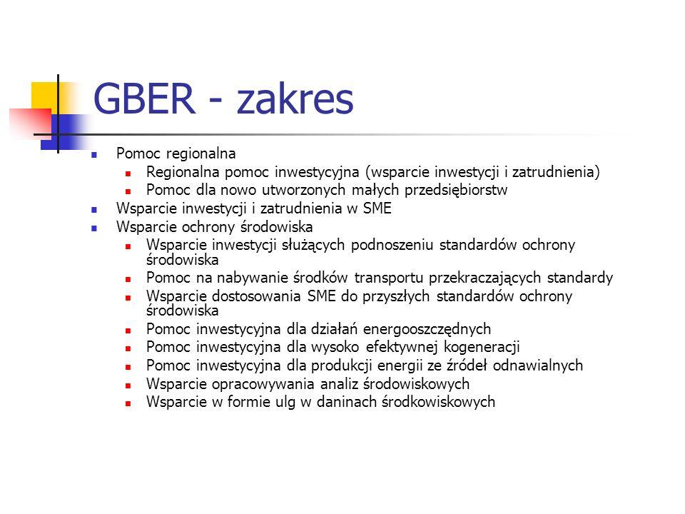 GBER - zakres Pomoc regionalna