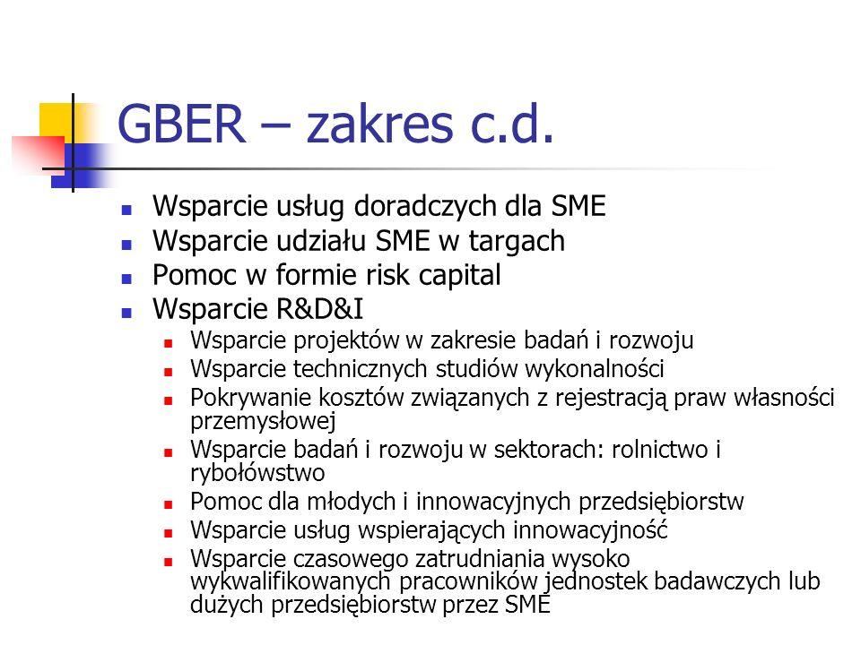 GBER – zakres c.d. Wsparcie usług doradczych dla SME