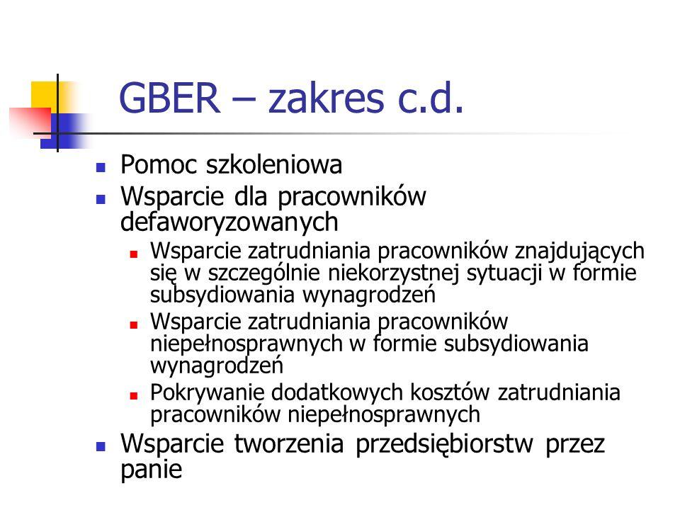 GBER – zakres c.d. Pomoc szkoleniowa