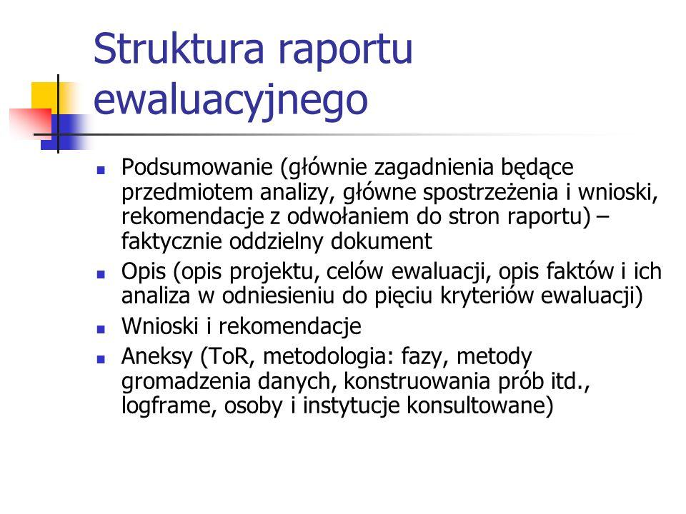 Struktura raportu ewaluacyjnego