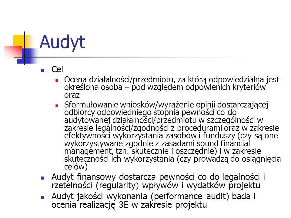 Audyt Cel. Ocena działalności/przedmiotu, za którą odpowiedzialna jest określona osoba – pod względem odpowienich kryteriów oraz.