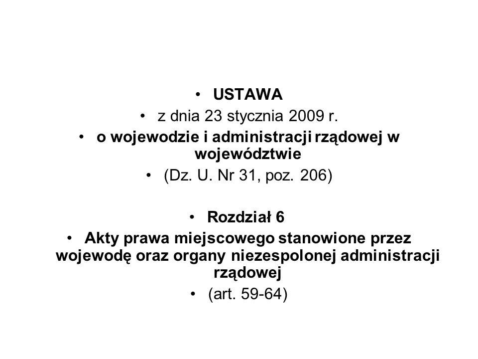 o wojewodzie i administracji rządowej w województwie