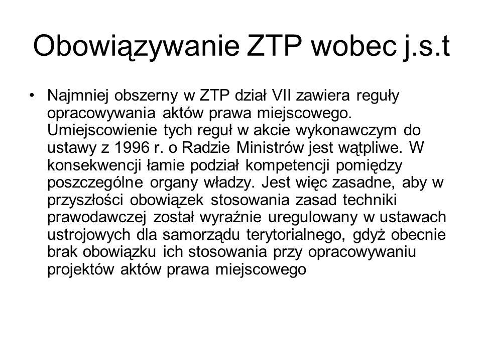 Obowiązywanie ZTP wobec j.s.t