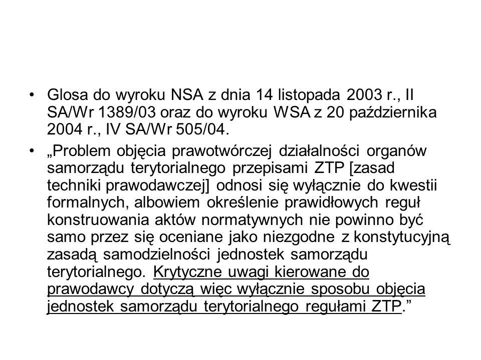 Glosa do wyroku NSA z dnia 14 listopada 2003 r