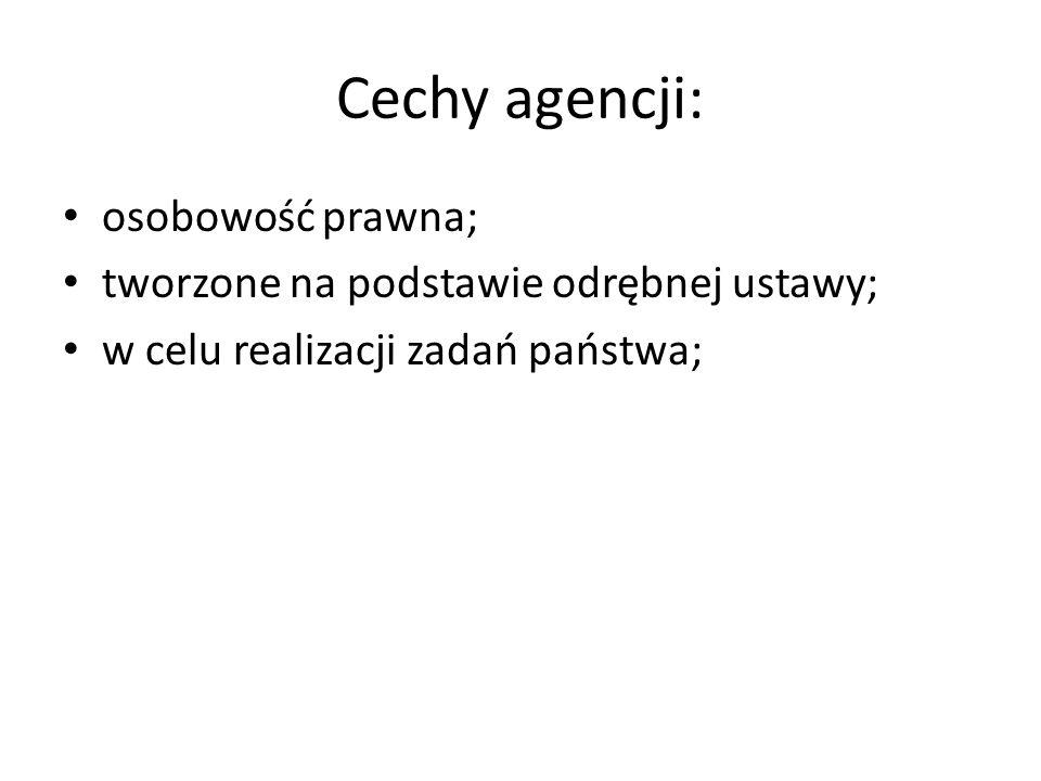 Cechy agencji: osobowość prawna;