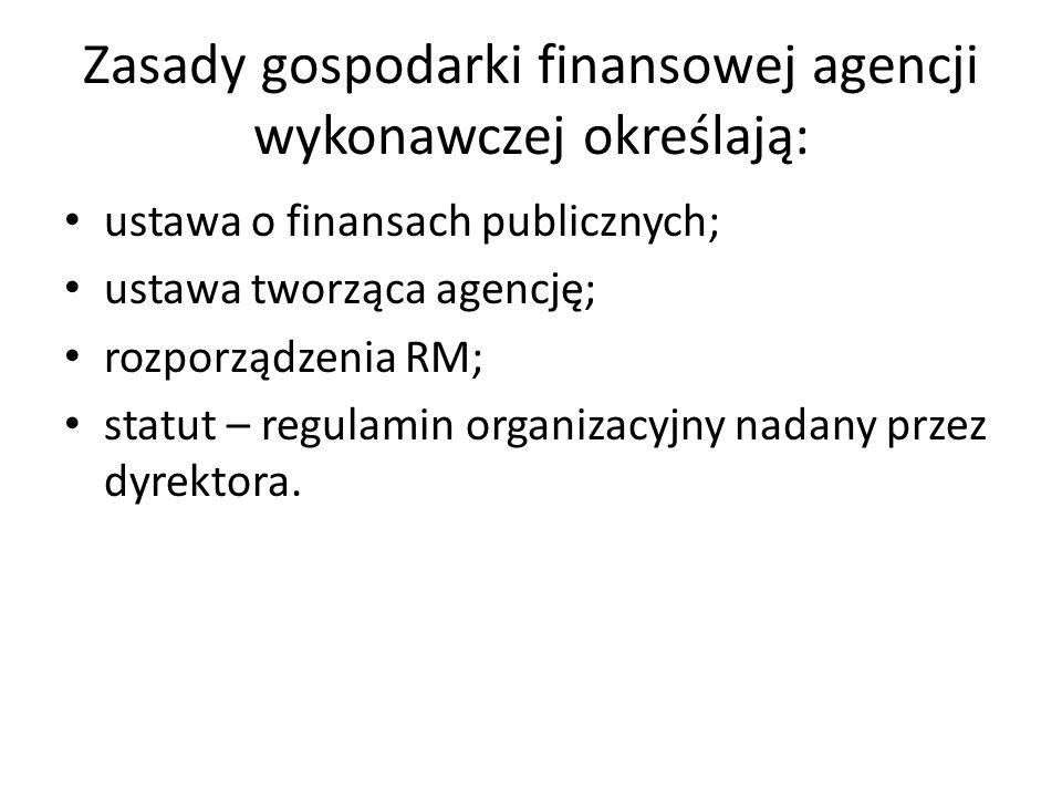 Zasady gospodarki finansowej agencji wykonawczej określają: