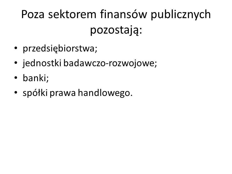 Poza sektorem finansów publicznych pozostają: