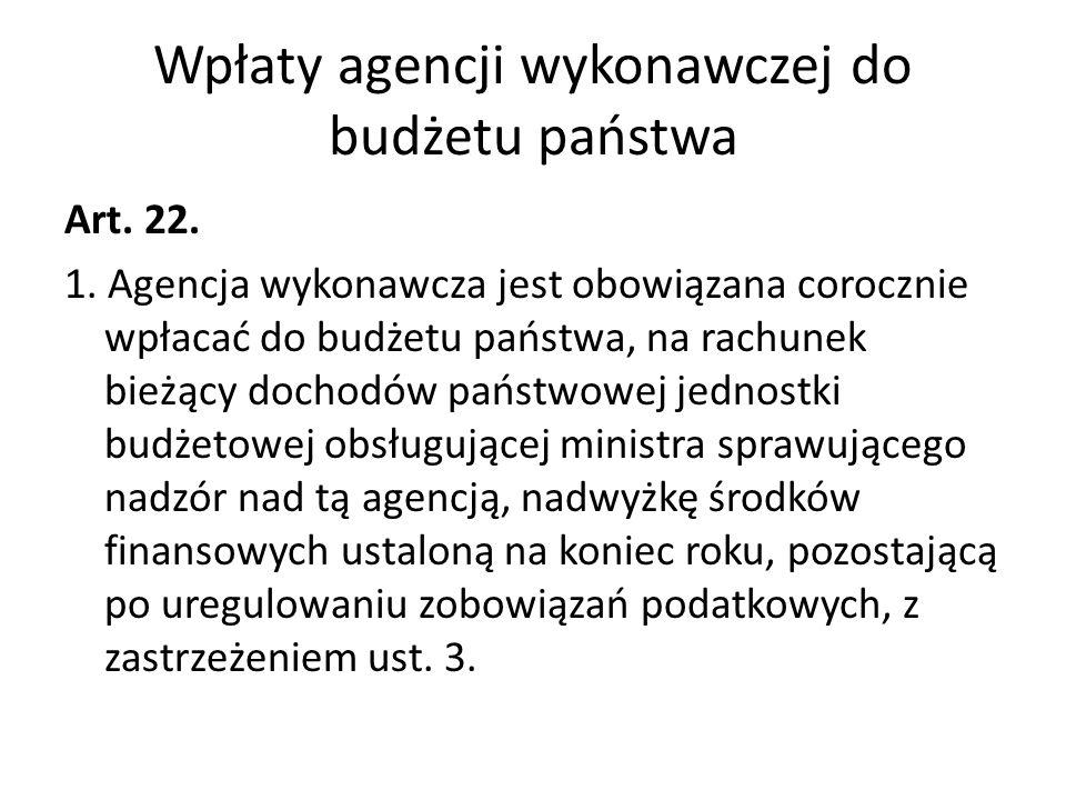 Wpłaty agencji wykonawczej do budżetu państwa