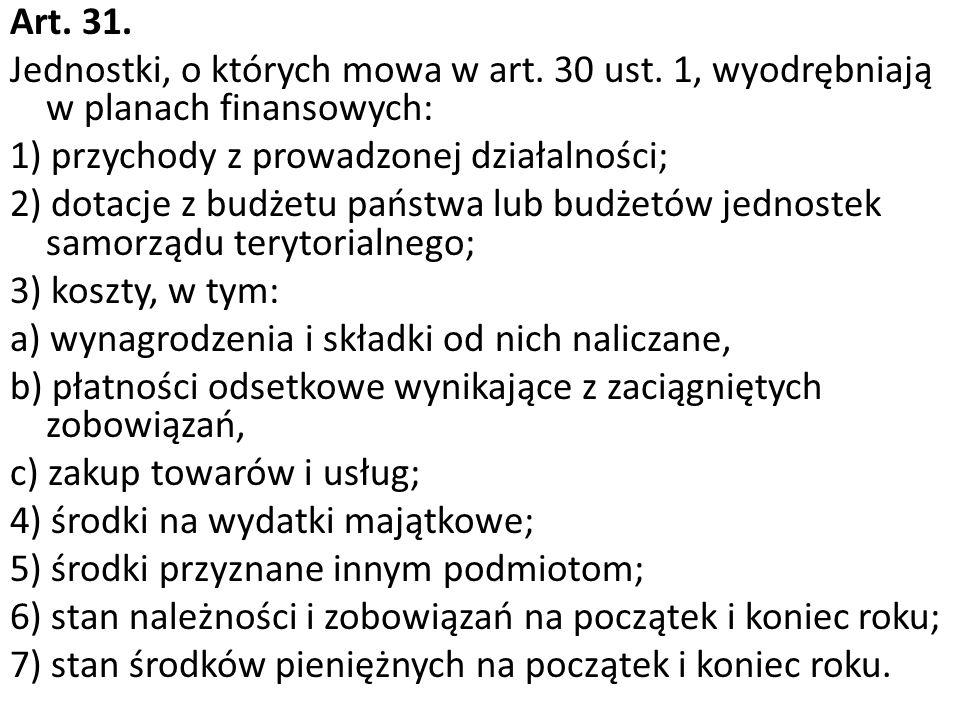 Art. 31. Jednostki, o których mowa w art. 30 ust