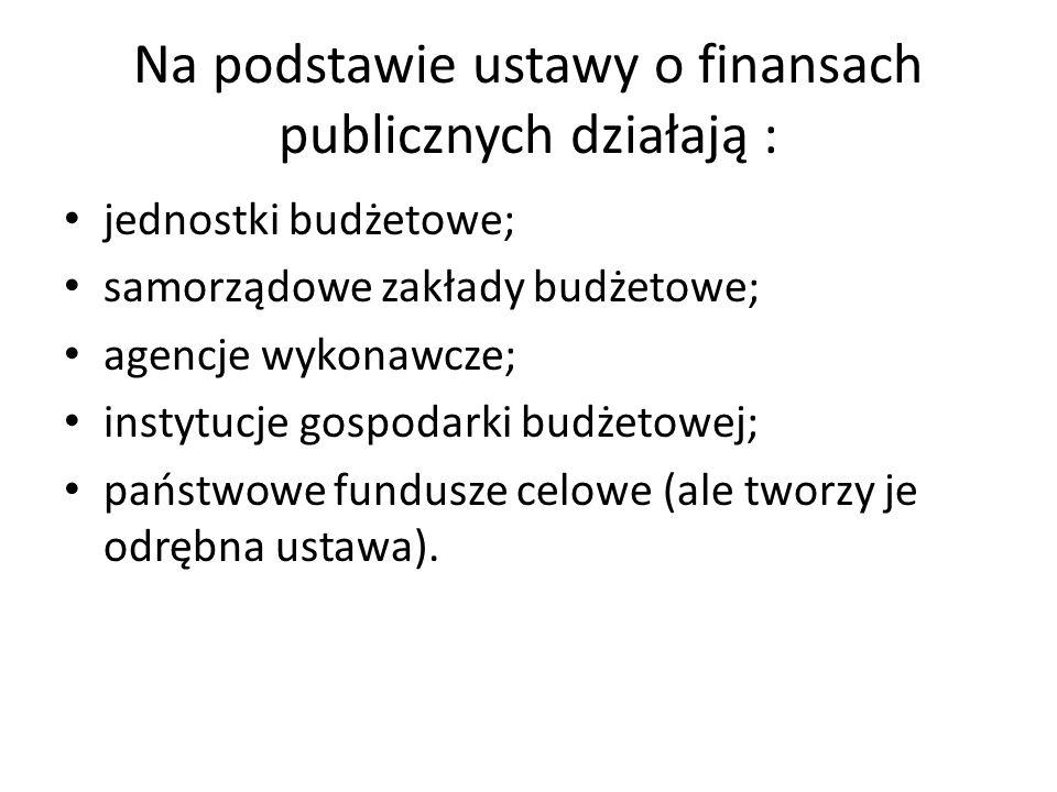 Na podstawie ustawy o finansach publicznych działają :