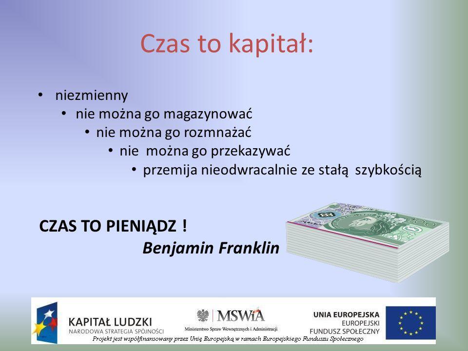 Czas to kapitał: CZAS TO PIENIĄDZ ! Benjamin Franklin niezmienny