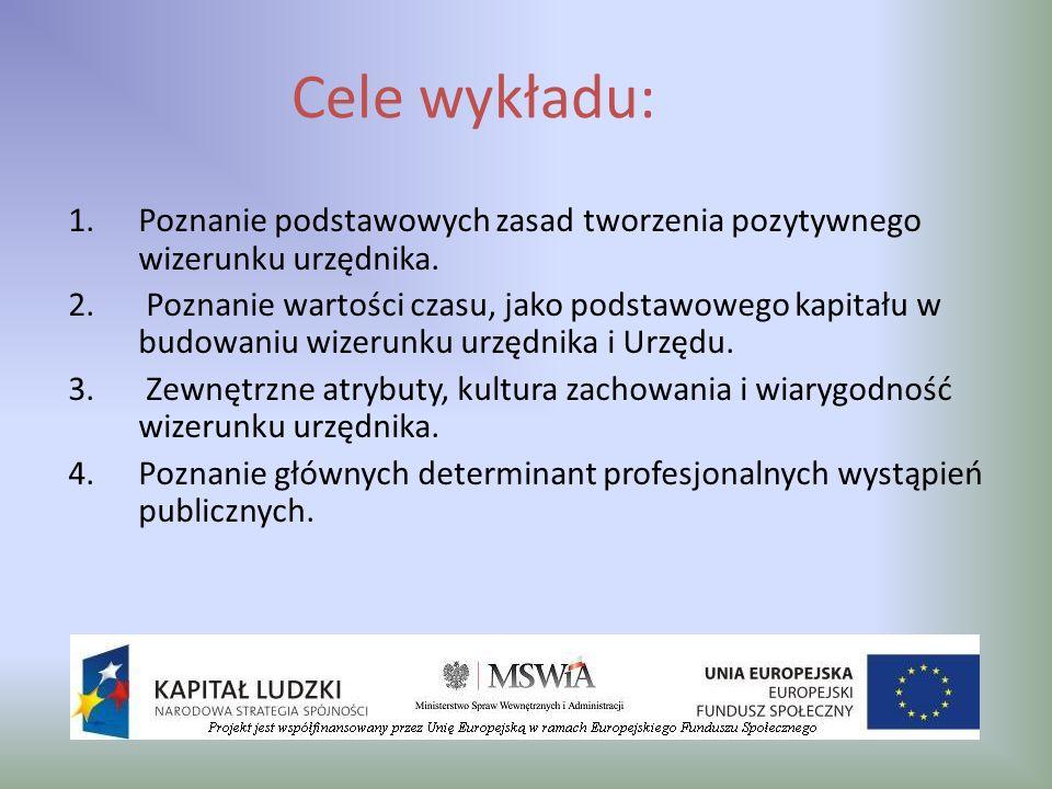Cele wykładu:Poznanie podstawowych zasad tworzenia pozytywnego wizerunku urzędnika.