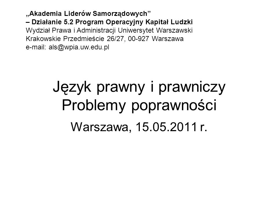 Język prawny i prawniczy Problemy poprawności