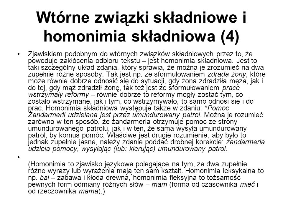 Wtórne związki składniowe i homonimia składniowa (4)