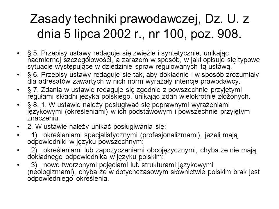 Zasady techniki prawodawczej, Dz. U. z dnia 5 lipca 2002 r