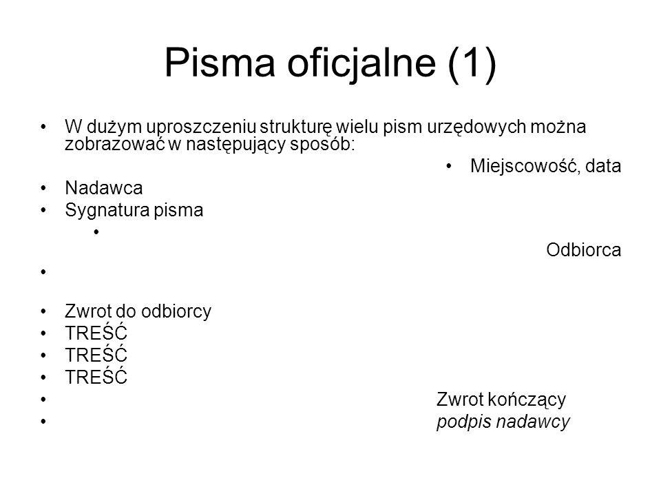 Pisma oficjalne (1) W dużym uproszczeniu strukturę wielu pism urzędowych można zobrazować w następujący sposób:
