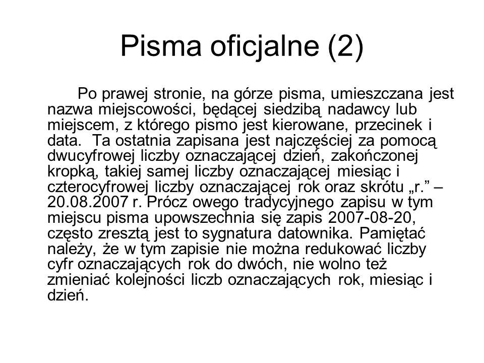 Pisma oficjalne (2)