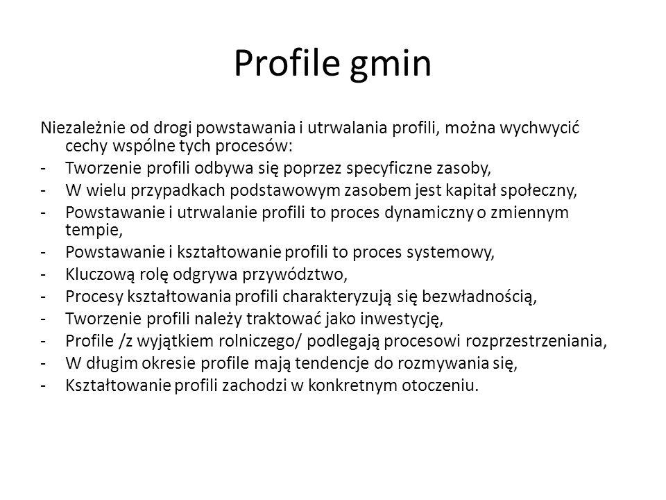 Profile gminNiezależnie od drogi powstawania i utrwalania profili, można wychwycić cechy wspólne tych procesów: