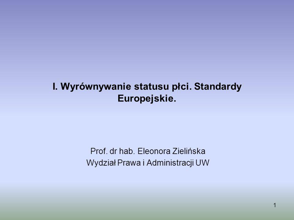 I. Wyrównywanie statusu płci. Standardy Europejskie.