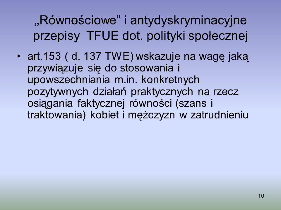 """""""Równościowe i antydyskryminacyjne przepisy TFUE dot"""