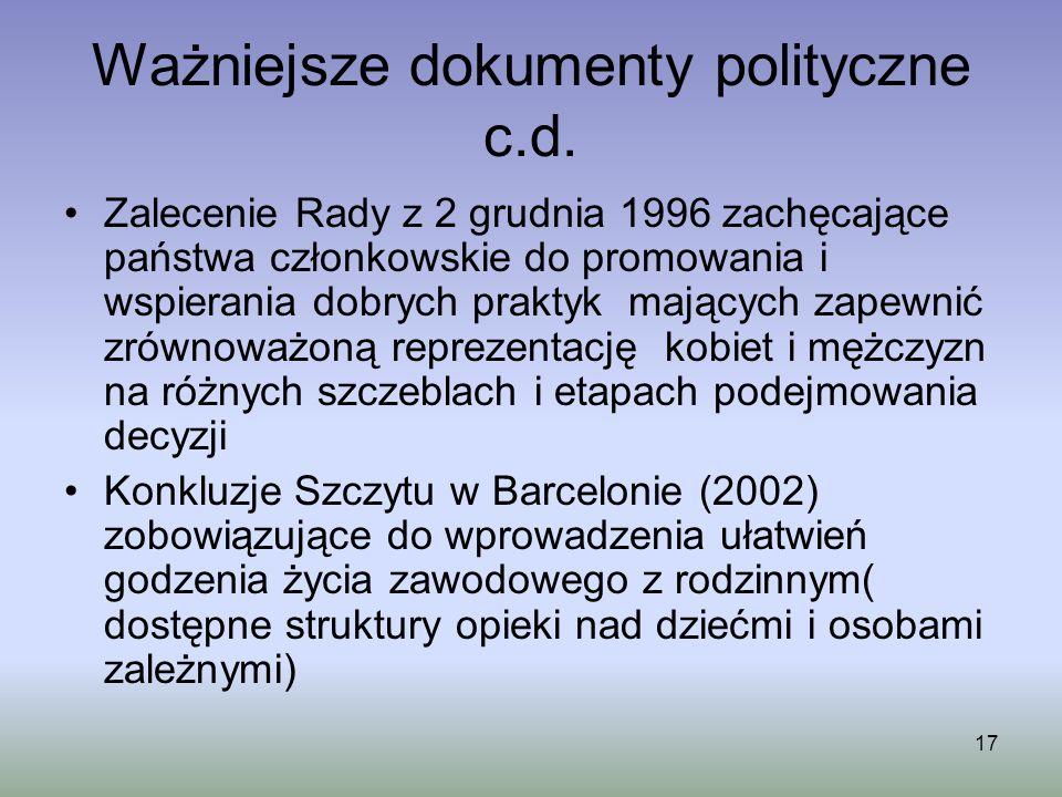 Ważniejsze dokumenty polityczne c.d.