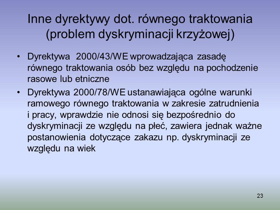 Inne dyrektywy dot. równego traktowania (problem dyskryminacji krzyżowej)