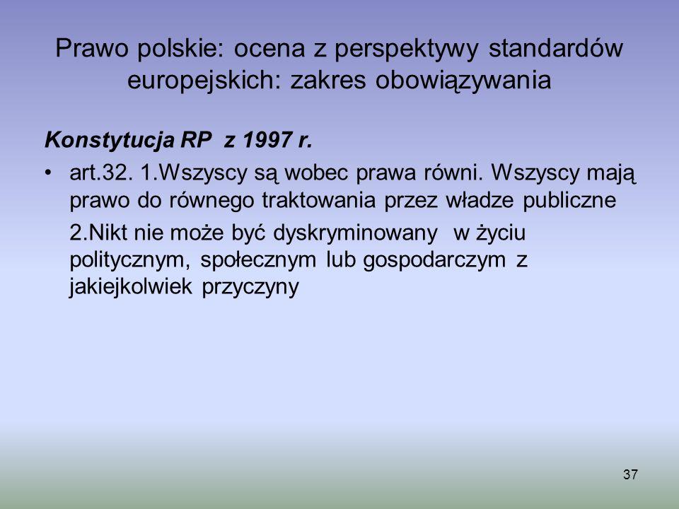Prawo polskie: ocena z perspektywy standardów europejskich: zakres obowiązywania