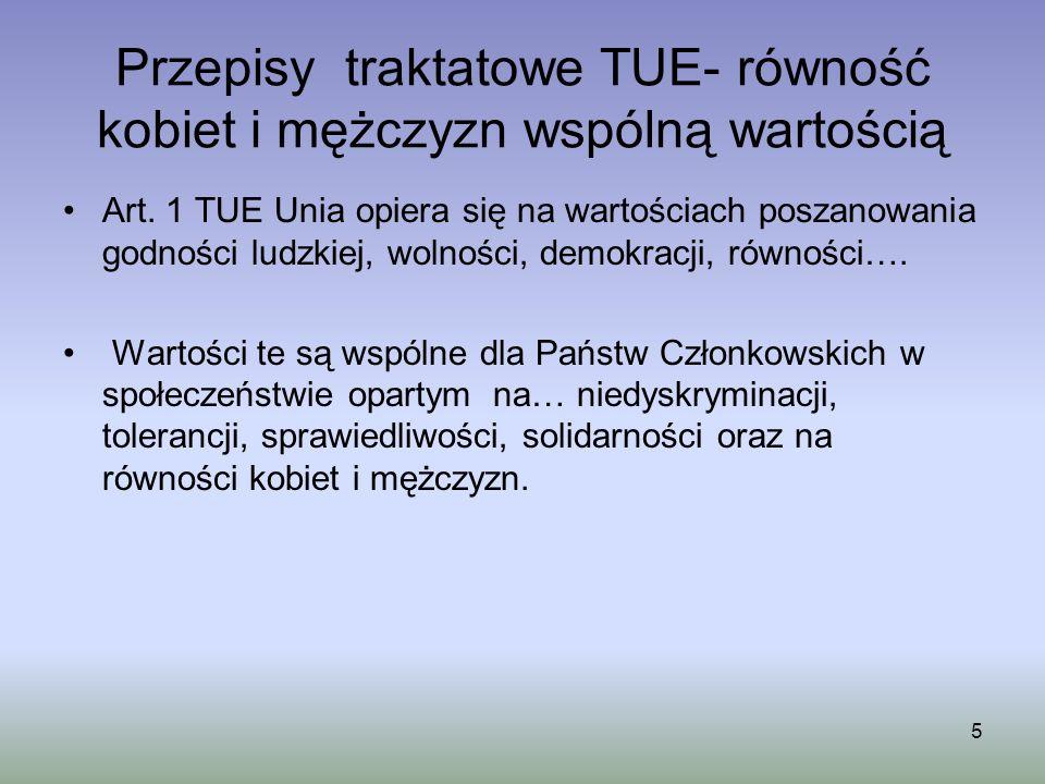 Przepisy traktatowe TUE- równość kobiet i mężczyzn wspólną wartością