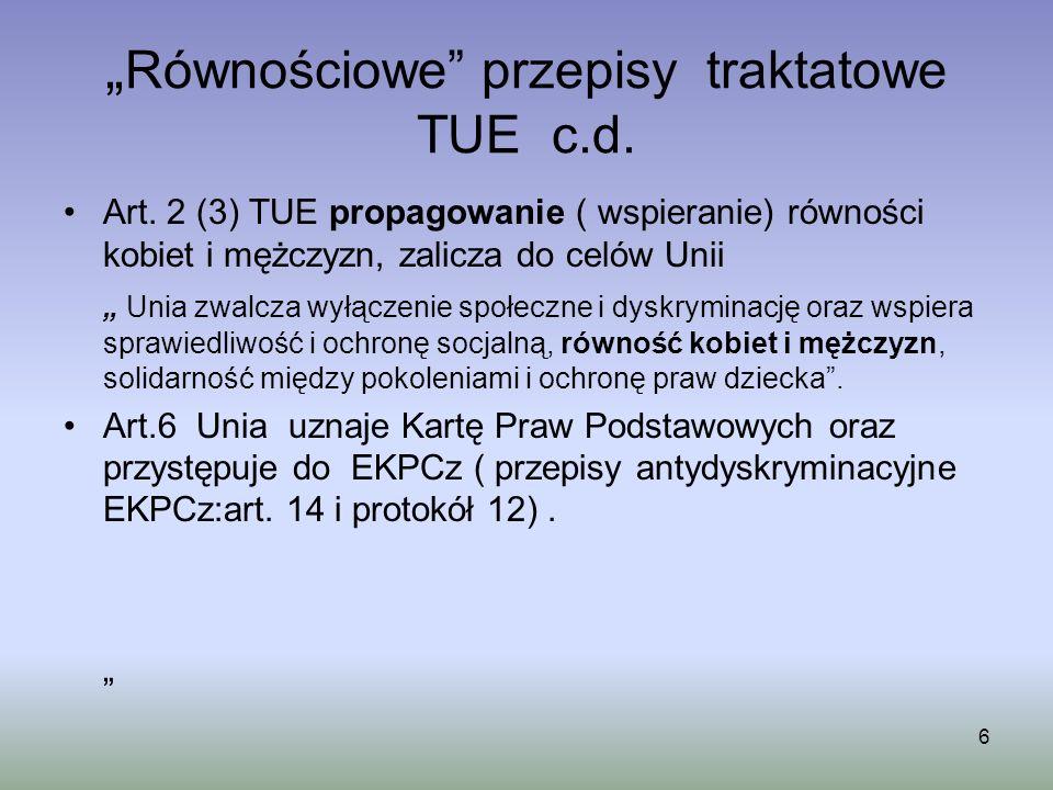 """""""Równościowe przepisy traktatowe TUE c.d."""