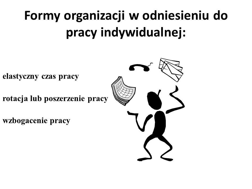 Formy organizacji w odniesieniu do pracy indywidualnej: