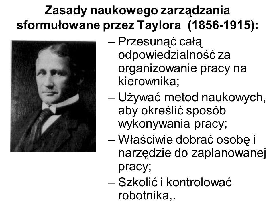 Zasady naukowego zarządzania sformułowane przez Taylora (1856-1915):