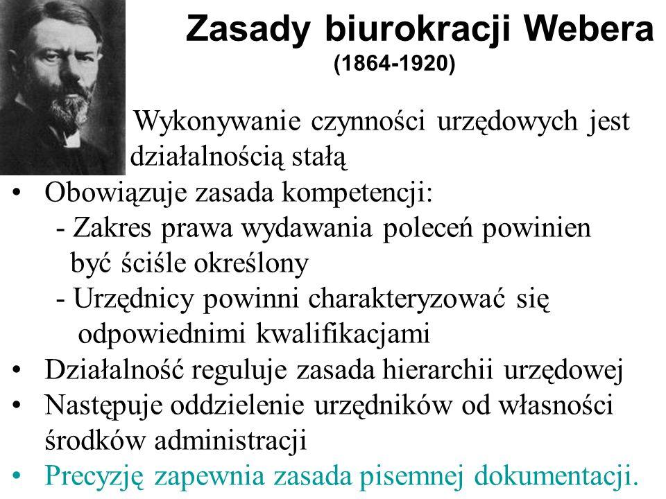 Zasady biurokracji Webera (1864-1920)