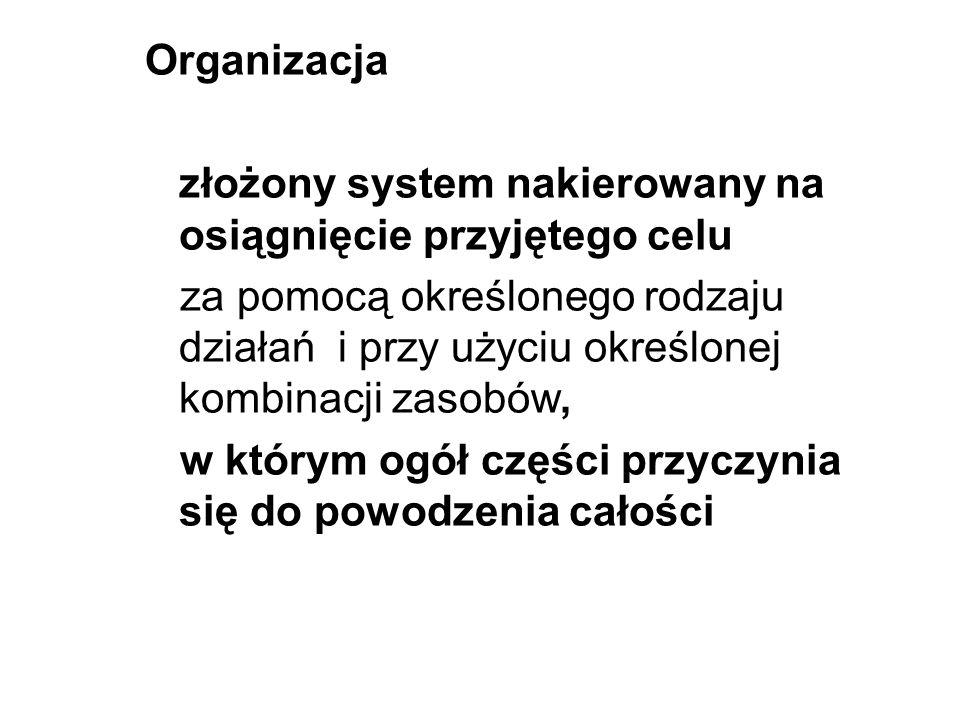 Organizacja złożony system nakierowany na osiągnięcie przyjętego celu.