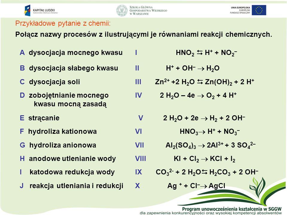 Przykładowe pytanie z chemii: