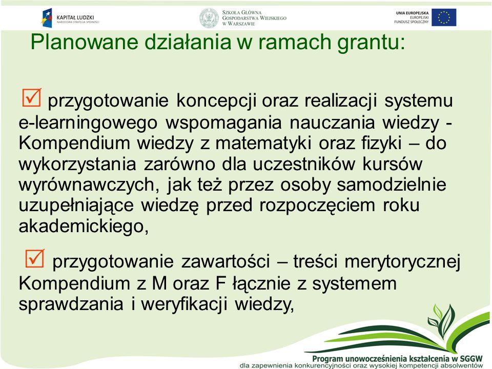 Planowane działania w ramach grantu: