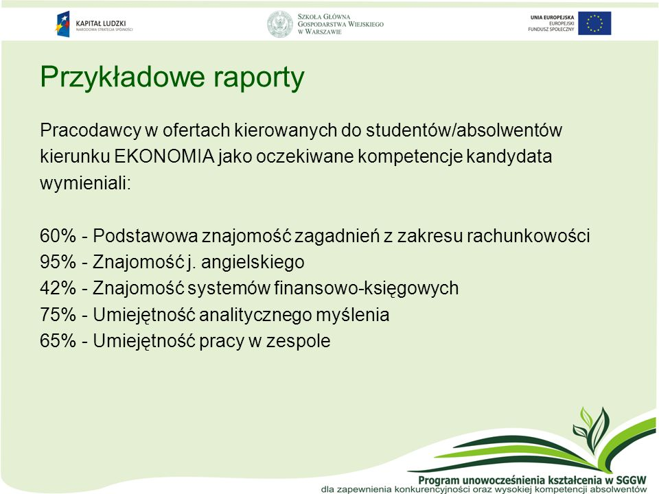 Przykładowe raporty Pracodawcy w ofertach kierowanych do studentów/absolwentów. kierunku EKONOMIA jako oczekiwane kompetencje kandydata.