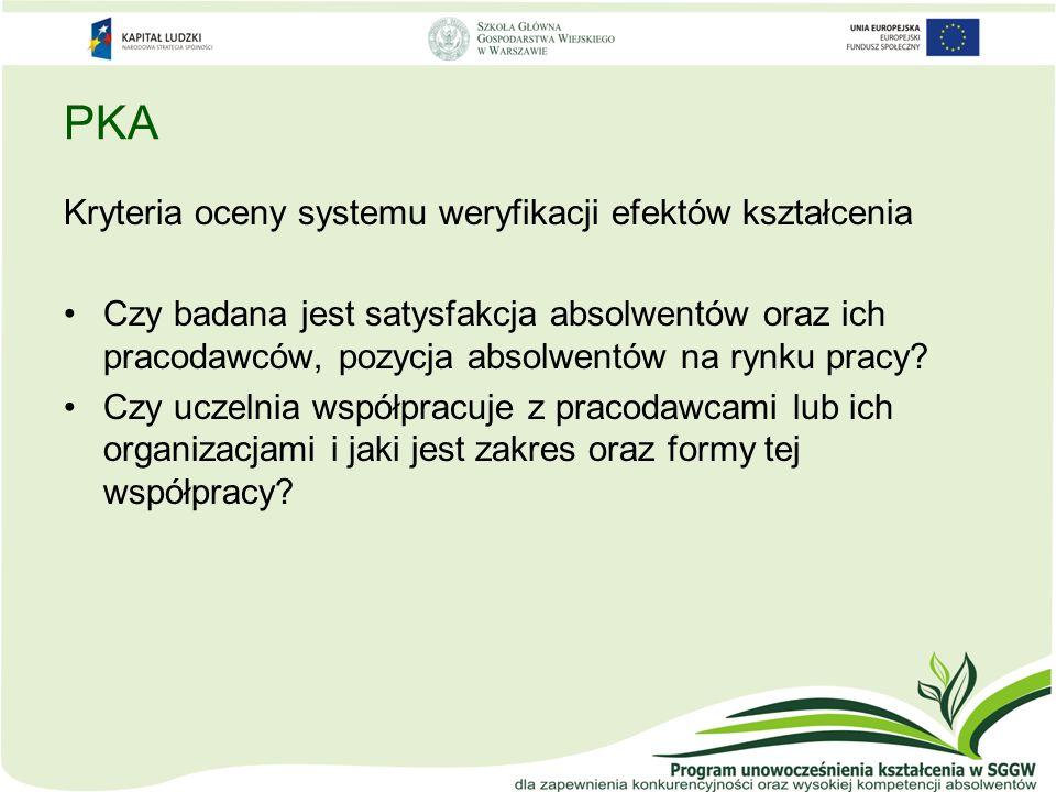 PKA Kryteria oceny systemu weryfikacji efektów kształcenia