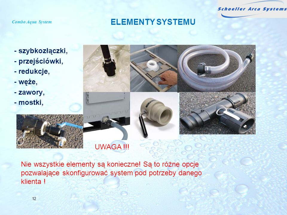 Combo Aqua System ELEMENTY SYSTEMU. - szybkozłączki, - przejściówki, - redukcje, - węże, - zawory, - mostki,