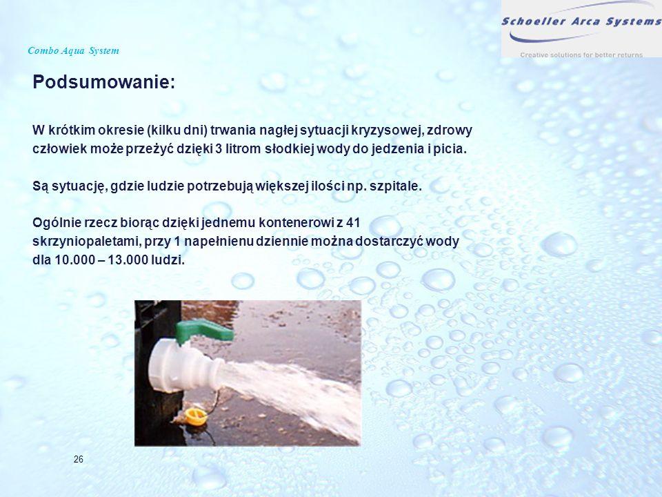 Combo Aqua System Podsumowanie: W krótkim okresie (kilku dni) trwania nagłej sytuacji kryzysowej, zdrowy.